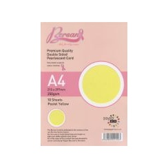Bersan Premium Quality Double Sided Pearlescent Card - Pastel Yellow