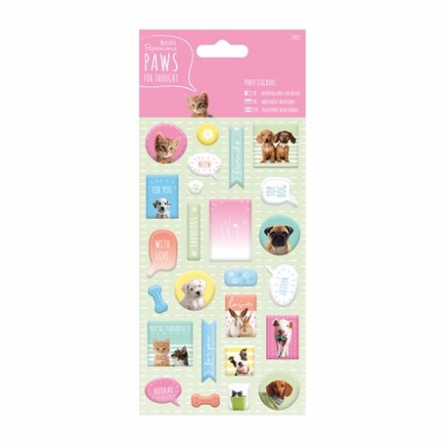 Papermania Puffy Stickers (27pcs) - Paws for Thought