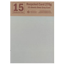 Woodware RECYCLED CARD A4 - DOVE GREY - 15 SHEETS