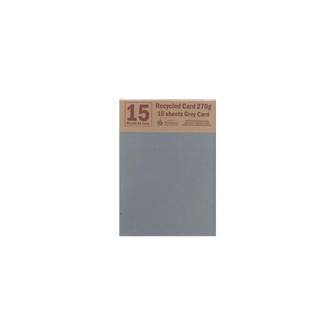 Woodware RECYCLED CARD A4 - GREY - 15 SHEETS