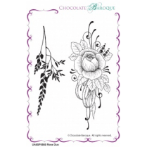 Chocolate Baroque Rose Duo unmounted rubber stamp set - A6