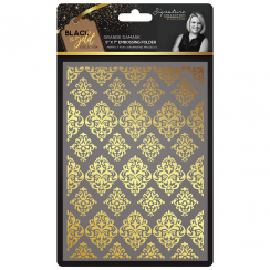 "Crafters Companion Sara Signature Collection Black & Gold 5"" x 7"" Embossing Folder - Grande Damask"