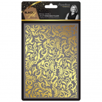 "Crafters Companion Sara Signature Collection Black & Gold 5"" x 7"" Embossing Folder - Regal Swirls"