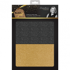 Crafters Companion Sara Signature Collection Black & Gold - A4 Luxury Glitter Card