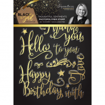 Crafters Companion Sara Signature Collection Black & Gold A6 Photopolymer Stamp - Thoughtful Sentiments