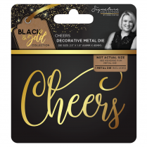 Crafters Companion Sara Signature Collection Black & Gold Metal Die - Cheers