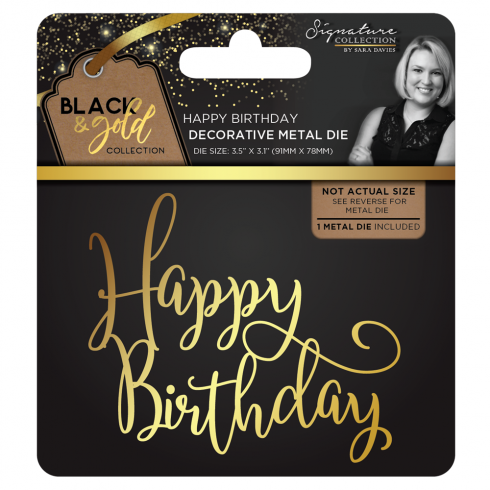Crafters Companion Sara Signature Collection Black & Gold Metal Die - Happy Birthday