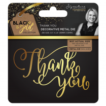 Crafters Companion Sara Signature Collection Black & Gold Metal Die - Thank You