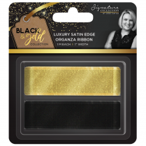 Crafters Companion Sara Signature Collection Black & Gold - Satin Edge Organza Ribbon (2pk)