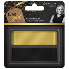 Crafters Companion Sara Signature Collection Black & Gold - Satin Ribbon (2pk)