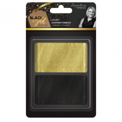 Crafters Companion Sara Signature Collection Black & Gold - Shimmer Ribbon (2pk)