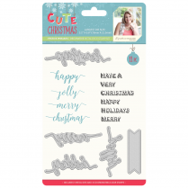 Crafters Companion Sara Signature Collection Cute Christmas Metal Die & Stamp Set - Festive Phrases
