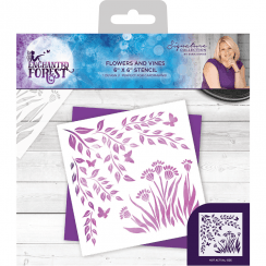 Crafters Companion Sara Signature Collection Enchanted Forest - 6x6 Stencil - Flowers and Vines