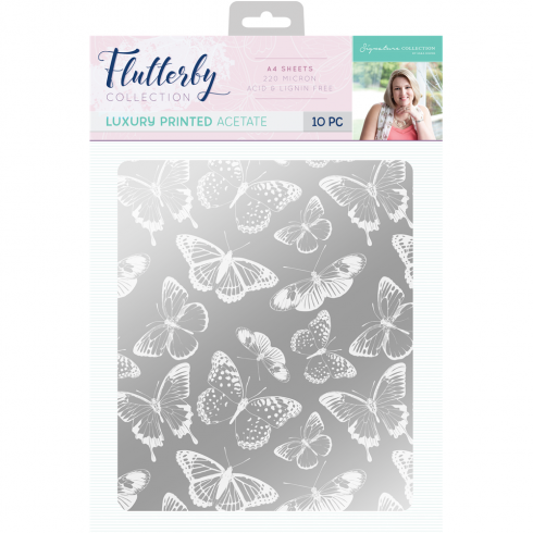 Crafters Companion Sara Signature Collection Flutterby A4 Luxury Printed Acetate