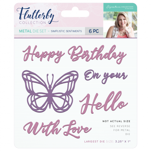 Crafters Companion Sara Signature Collection Flutterby Metal Die - Simplistic Sentiments