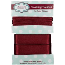 "Creative Expressions Satin Ribbon Raisin 3m each 3/4"" & 1/16"""