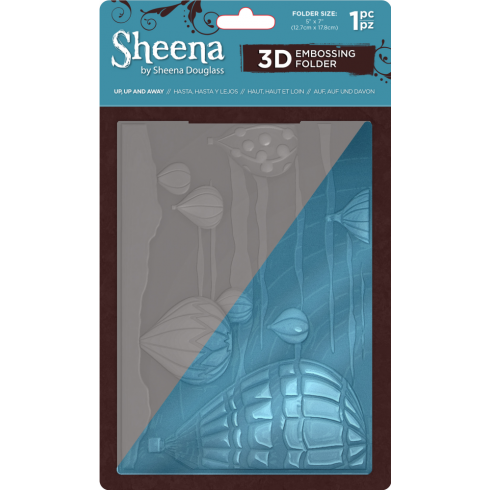 "Sheena Douglass 5"" x 7"" 3D Embossing Folder - Up, Up & Away"