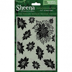 "Sheena Douglass Christmas 5"" x 7"" Embossing Folder - Poinsettia Plethora"