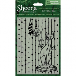 "Sheena Douglass Christmas 5"" x 7"" Embossing Folder - Purrfect Christmas"