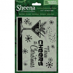 "Sheena Douglass Christmas 5"" x 7"" Embossing Folder - Three Cheers"
