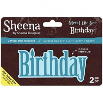 "Sheena Douglass Metal Die Set Birthday Set of 2 | 5.4"" x 2.7"""