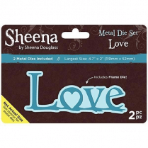 "Sheena Douglass Metal Die Set Love Set of 2 | 4.7"" x 2"""