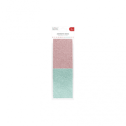 Simply Creative Adhesive Gems - 3mm - Red & Green