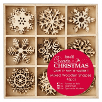 Create Christmas Small Mixed Wooden Shapes (45pcs) - Snowflakes