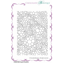 Chocolate Baroque Square Bubbles individual unmounted rubber stamp - A6