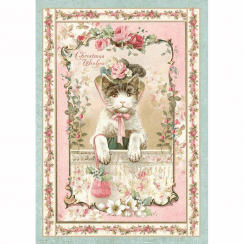 Stamperia Rice Paper A4 Pink Christmas Kitten
