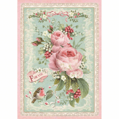 Stamperia Rice Paper A4 Pink Christmas Rose