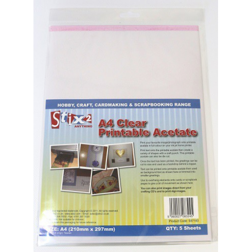 Stix 2 - A4 Clear Printable Acetate (5 sheets)
