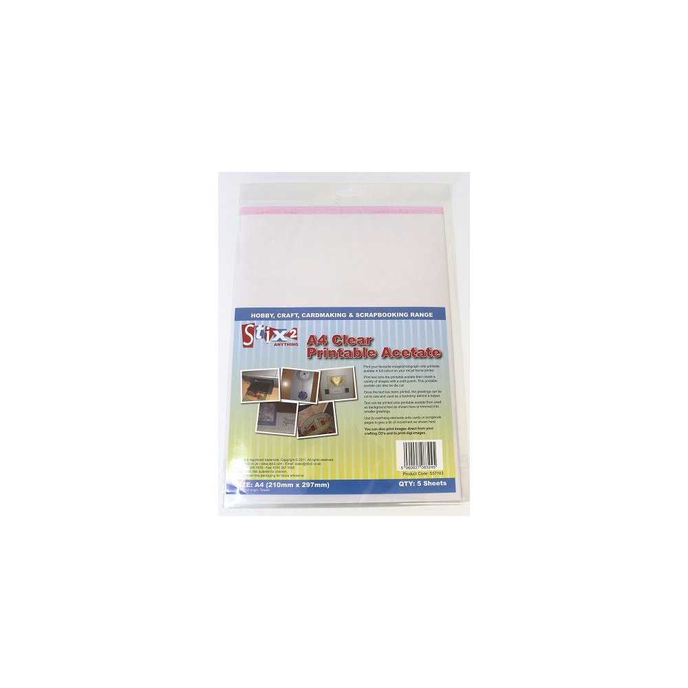 Pack of 5 A4 Clear Inkjet Printable Acetate Sheets By Stix2