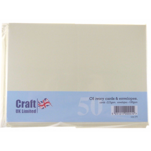 Craft UK UK Cards & Envelopes C6 Ivory