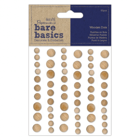 Papermania WOODEN DOTS (60PCS) - BARE BASICS - LIGHT