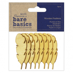 Papermania WOODEN FEATHERS (8PCS) - BARE BASICS