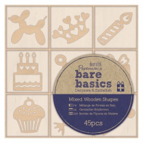 Papermania Wooden Shapes (45pcs) - Bare Basics - Celebration
