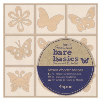 Papermania Wooden Shapes (45pcs) - Bare Basics - Flowers & Butterflies