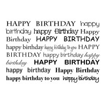 Woodware Clear Minis - Birthday Textbox