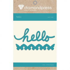 Diamond Press Word Dies - Hello & Butterflies