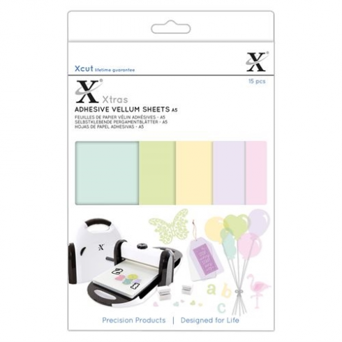 X-cut Xcut Xtras A5 Adheive Vellum Sheets (15pcs) - Coloured