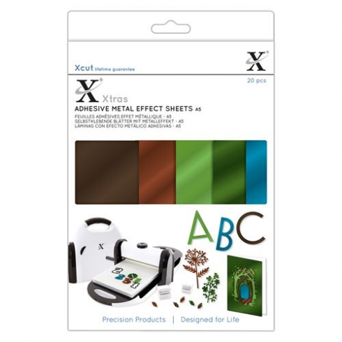Xcut Xtras A5 Adhesive Metal Effect Sheets (20pcs) - Naturals