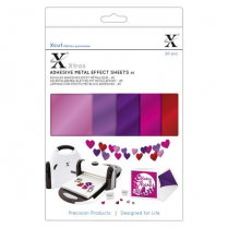 X-cut Xcut Xtras A5 Adhesive Metal Effect Sheets (20pcs) - Pinks